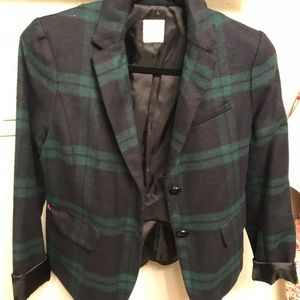 Navy & green wool plaid blazer